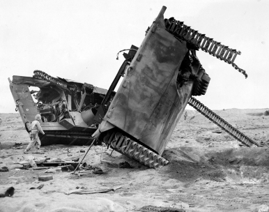 Sometimes mines were found the hard way. These two LVTs became something of a landmark in the 4th Marine Division sector. USMC photo.