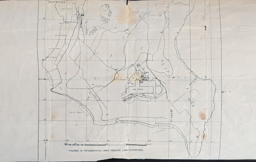 Low-detail map of southern Saipan, issued to 4th Marine Division troops before the invasion.