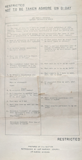 A questionnaire for 4th Marine Division troops issued in preparation for the Saipan operation.