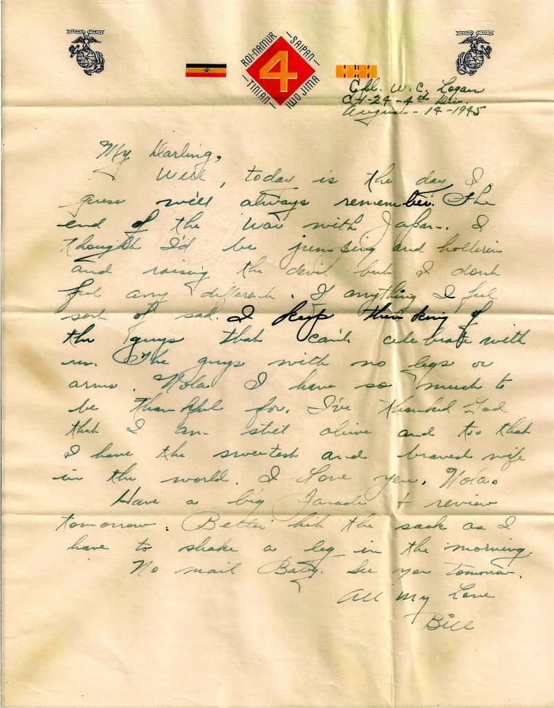 A letter from William Logan dated 14 August 1945 describing his feelings about V-J Day.